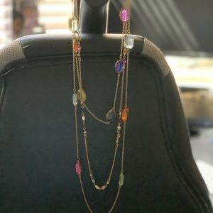 Multicolored crystals long chain necklace